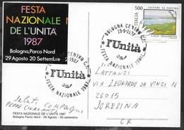 ANNULLO SPECIALE - BOLOGNA CENTRO - 19.09.1987 - L'UNITA' - FESTA NAZIONALE 1987 SU CARTOLINA NEL TEMA - 1981-90: Storia Postale