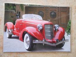 Grande Repro Automobile Cartonnée Et Plastifiée : AUBURN BOATTAIL SPEEDSTER RED 1935- - Voitures