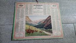 Calendrier 1934   Almanach Des Postes Pâturages Pyrénéens L'abreuvoir Plan Du Métro - Calendriers