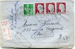 FRANCE LETTRE RECOMMANDEE DEPART PARIS 21-7-1961 R; DES HALLES POUR PARIS PUIS REEXPEDIEE A L'EXPEDITEUR - 1960 Marianne De Decaris