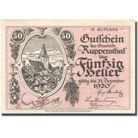 Billet, Autriche, Ruppersthal, 50 Heller, Village 1920-12-31 SPL Mehl:FS 854c - Autriche