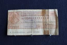 2 / Italie - 1946 : Royaume /  Biglietti - Istuto Bancario San Paolo Di Torino 19. 1 . 1976  - 100 Lire - Cento Lire - - [ 2] 1946-… : República