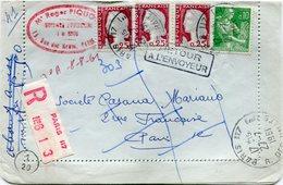 FRANCE LETTRE RECOMMANDEE DEPART PARIS 27-7-1961 R; DES HALLES POUR PARIS PUIS REEXPEDIEE A L'EXPEDITEUR - 1960 Marianne De Decaris