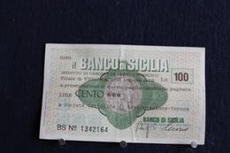 3 / Italie - 1946 : Royaume / Biglietti - Il Banco Di Sicilia, 25.10.1976 - 100 Lire - Cento Lire - - [ 2] 1946-… : República