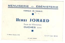 Carte De Visite Menuiserie Ebenisterie Fabrique De Meubles Henri Jonard Ouches (Loire) - Cartoncini Da Visita