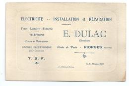Carte De Visite Electricité Force Lumière TSF Téléphone E. Dulac Riorges (Loire) - Cartoncini Da Visita