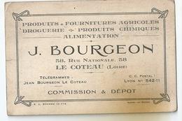 Carte De Visite Fournitures Agricoles Droguerie Produits Chimiques Alimentation J. Bourgeon Le Coteau (Loire) - Cartoncini Da Visita