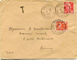 FRANCE LETTRE DEPART CONQUEREUIL 11-7-1951 LOIRE-INFERIEURE TAXEE A L'ARRIVEE A RENNES 12-7-1951 ILLE-ET-VILAINE - 1945-54 Marianne Of Gandon