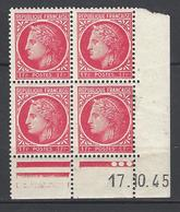 CD 676 FRANCE 1945 COIN DATE 676 : 17 / 10 / 45 TYPE CERES DE MAZELIN - 1940-1949