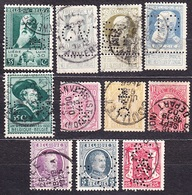 BELGIUM, LOT OF 11 USED STAMPS WITH PERFINS. Condition, See The Scans. - Lochung