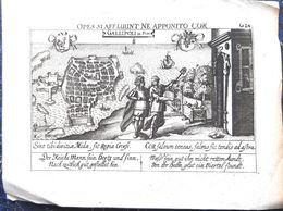 ITALIE ITALIA GALLIPOLI XVII°  VUE CAVALIERE GRAVEE A L'EAU FORTE VERS 1650 18 X 13 CM BON ETAT - Geographical Maps