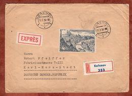 Einschreiben Reco, Expres, Prag, Korenov Nach Karl-Marx-Stadt 1956 (74162) - Briefe U. Dokumente