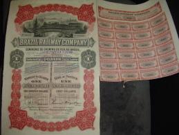 """Action Privilégiée """"Brazil Railway Cy""""Sao Paulo Brésil 1909 Capital $40000000 Reste Des  Copupons - Chemin De Fer & Tramway"""