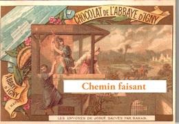 Chromo Chocolat ABBAYE D'IGNY - Les Envoyés De JOSUE Sauvés Par RAHAB  - Scans Recto-verso - Otros