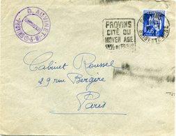 FRANCE LETTRE DEPART PROVINS ?-?-38 SEINE ET MARNE AVEC CACHET PROVINS CITE DU MOYEN AGE 1 H 1/2 DE PARIS POUR LA FRANCE - 1932-39 Paix