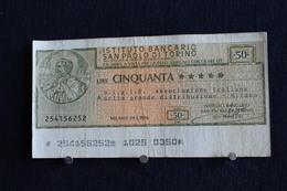 16 / Italie / 1946: Royaume / Istituto Bancario San Paolo Di Torino  21/1/1976 - Vale 50 Lire - - [ 2] 1946-… : République
