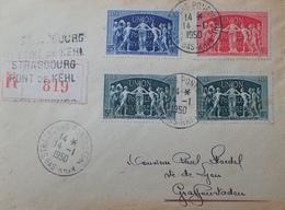 R1949/824 - N°850 à 852 (SERIE COMPLETE) Sur ✉️ LR - CàD De STRASBOURG PONT DE KEHL DU 14 JANVIER 1950 - Covers & Documents