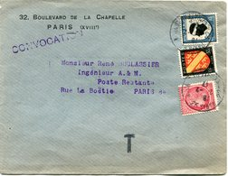 FRANCE LETTRE DEPART PARIS 24-2-47 RUE CHATEAU LANDON TAXEE EN POSTE RESTANTE PARIS 25-2-47 R. LA BOETIE - 1945-47 Cérès De Mazelin