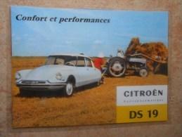 Grande Repro Automobile Cartonnée Et Plastifiée : CITROEN  DS 19 Hydropneumatique - Automobiles