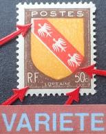 R1949/828 - 1946 - BLASON DE LORRAINE - N°757 NEUF* - VARIETE ➤➤➤ Signatures Absentes + Décalage Du Rouge - Varieties: 1945-49 Mint/hinged