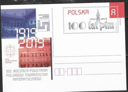 POLAND, 2019,MINT POSTAL STATIONERY, PREPAID POSTCARD, MATHS, 100th ANNIVERSARY OF POLISH MATHEMATICAL SOCIETY - Sciences