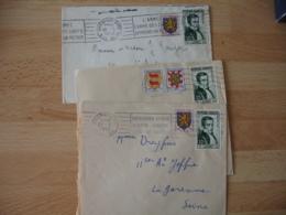 Lot De 3 Lettre Timbre Laennec 12 F Avec Ajout - Marcophilie (Lettres)