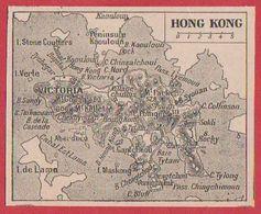 Carte De Hong Kong. Une Des îles. Larousse 1920. - Vieux Papiers