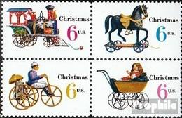 USA 1017-1020 Viererblock (kompl.Ausg.) Postfrisch 1970 Weihnachten: Kinderspielzeug - Nuovi