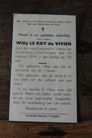 Doodsprentje Verzet Weerstand Wo2 + 1944 Kamp Sonnenburg Le Roy Du Vivier  Adel Noblesse - Religion & Esotérisme