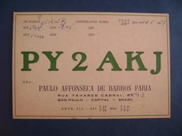 "BRAZIL - AMATEUR RADIO CARDS ""PY2AKJ"" - SAO PAULO 1957 IN THE STATE - Radio Amateur"