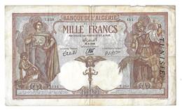 Billet 1000 Francs 29/09/1939 Banque De L'Algérie Avec Surcharge - Tunisie Petites Déchirures Sur Le Bord Du Haut Du Bil - Billetes