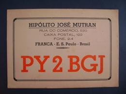 "BRAZIL - AMATEUR RADIO CARDS ""PY2BGJ"" - FRANCA (SAO PAULO) 1958 IN THE STATE - Radio Amateur"
