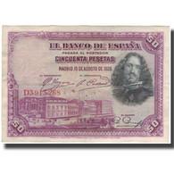 Billet, Espagne, 50 Pesetas, 1928-08-15, KM:75b, TB - [ 1] …-1931 : Eerste Biljeten (Banco De España)