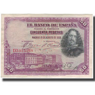 Billet, Espagne, 50 Pesetas, 1928-08-15, KM:75b, TB - 50 Pesetas