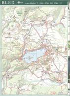Mappa Del Lago Di Bled, Slovenia E Del Circondario Sul Retro, Con Informazioni Turistiche - Map Of Bled Lake, Slovenia - Carte Geographique