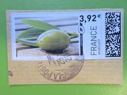 Montimbrenligne - Olive Verte Avec Feuille - 3,92 € - Sur Fragment - Cachet Rond - France