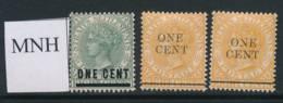 STRAITS SETTLEMENTS, 1892 1c Green, 1c Orange (2) Unmounted Mint - Straits Settlements
