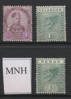 MALAYA, Johore 1c, Perak 1c, Selangor 1c Unmounted Mint - Malacca