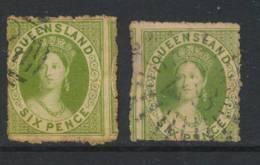 QUEENSLAND, 1862 6d Apple-green, Yell-grn On Thick Paper No Wmk, SG26 - Gebruikt