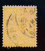 QUEENSLAND, 1890 4d Yellow P13 - 1860-1909 Queensland