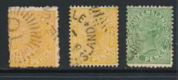 QUEENSLAND, 1890 4d (orange And Yellow), 6d, P13, Cat £10 - Gebruikt