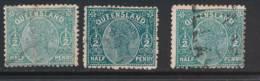 QUEENSLAND, 1892 ½d Pale, Deep, Blue-green , SG184-187, Cat £7 - Gebruikt