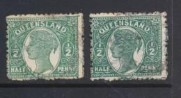 QUEENSLAND, 1895 ½d Green, Deep Green, SG208, 209 - Gebruikt