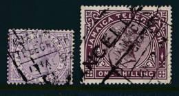 JAMAICA, 1879 1/- + 1889 3d TELEGRAPHS - Jamaica (...-1961)
