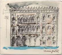 Tessera Di Iscrizione Associazione Omaggio A Venezia Anno 1984 N. 656. Piccola Acquaforte Firmata - Documenti Storici