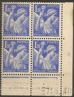 CD 434 France  Yvert Bloc De 4 Coins Datés 7/6/40 Type Iris - 1940-1949