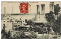 Ruelle: Fonderie, Porte Du Chemin De Fer, Locomotive Beau Plan Et Canon - Autres Communes