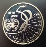 "BELGIUM 5 ECU (EURO) 1995 SILVER PROOF ""50th Anniversary - United Nations 1945-1995"" Free Shipping Via Registered Air - 1993-...: Albert II"