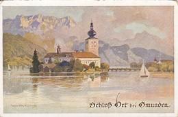 AK Gmunden - Schloss Ort - Künstlerkarte  (41300) - Gmunden