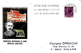ITALIA - 1970 IMOLA (BO) Mostra Filatelica Roma Capitale - Targhetta Meccanica - Storia